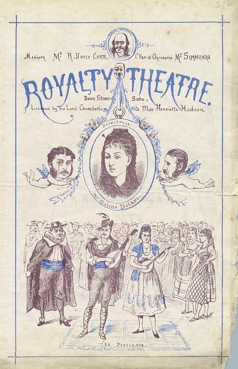 "April 1875 programme for ""La Périchole"" and ""Trial by Jury."" Sullivan and Gilbert are seen as the cherubs."