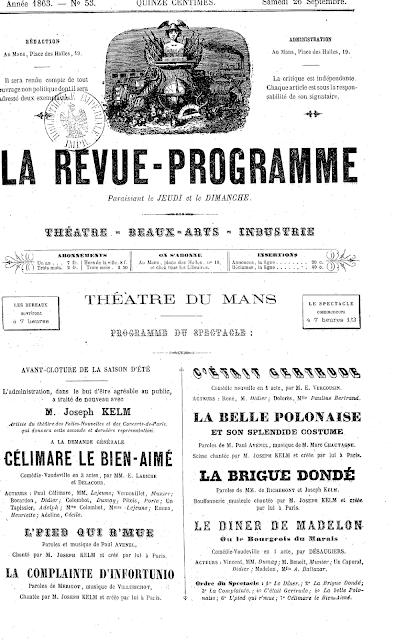 """A playbill announcing Joseph Kelm performing """"La Belle Polonaise."""""""