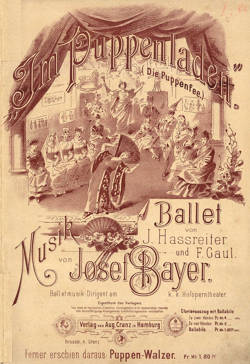 "Piano score cover for Josef Bayer's ""Puppen"" ballet (The Fairy Doll)."