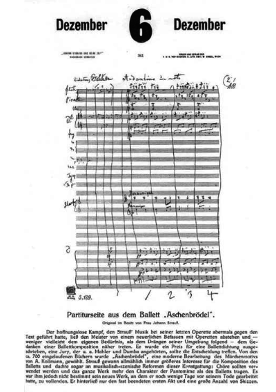 "Fascimile of the ""Aschenbrödel"" Strauss's score in handwriting, shown in 1911 in Erich W. Engel's calendar ""Johann Strauss und seine Zeit"". The calender states that this pages was in the possession of Mrs. Strauss. (It was later confiscated by the Nazis.)"