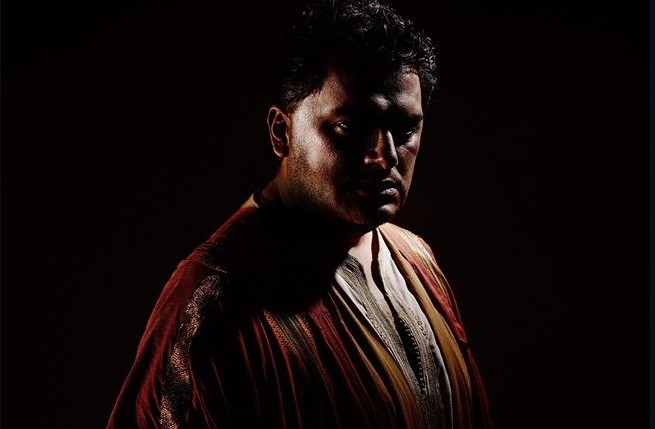 "A 2015 promotion image by the Metropolitan Opera, advertising a production of Verdi's ""Otello"" with Latvian tenor Aleksandrs Antonenko in heavy bronze makeup. (Photo: The Metropolitan Opera, New York.)"