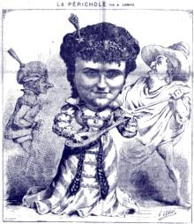 Hortense Schneider als Périchole in a drawing from the time of the world-premiere.