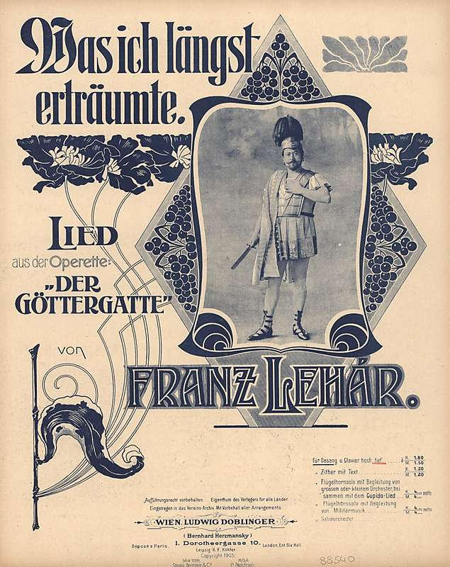 """Sheet music from Franz Lehár's """"Der Göttergatte."""""""