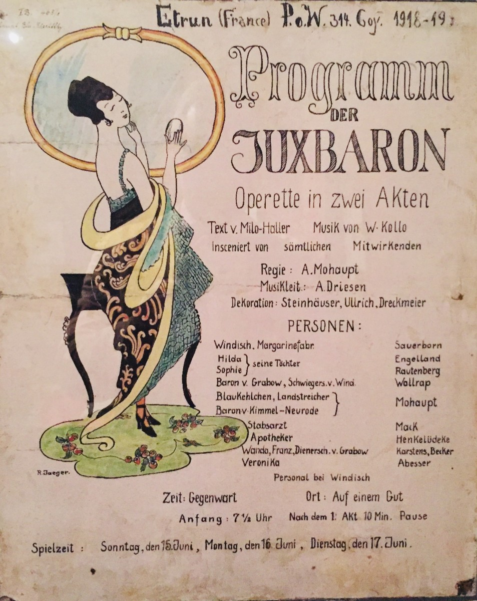 "Handmade poster advertising a performance of Walter Kollo's ""Der Juxbaron"" in France, June 1919. (Photo: Schwules Museum)"