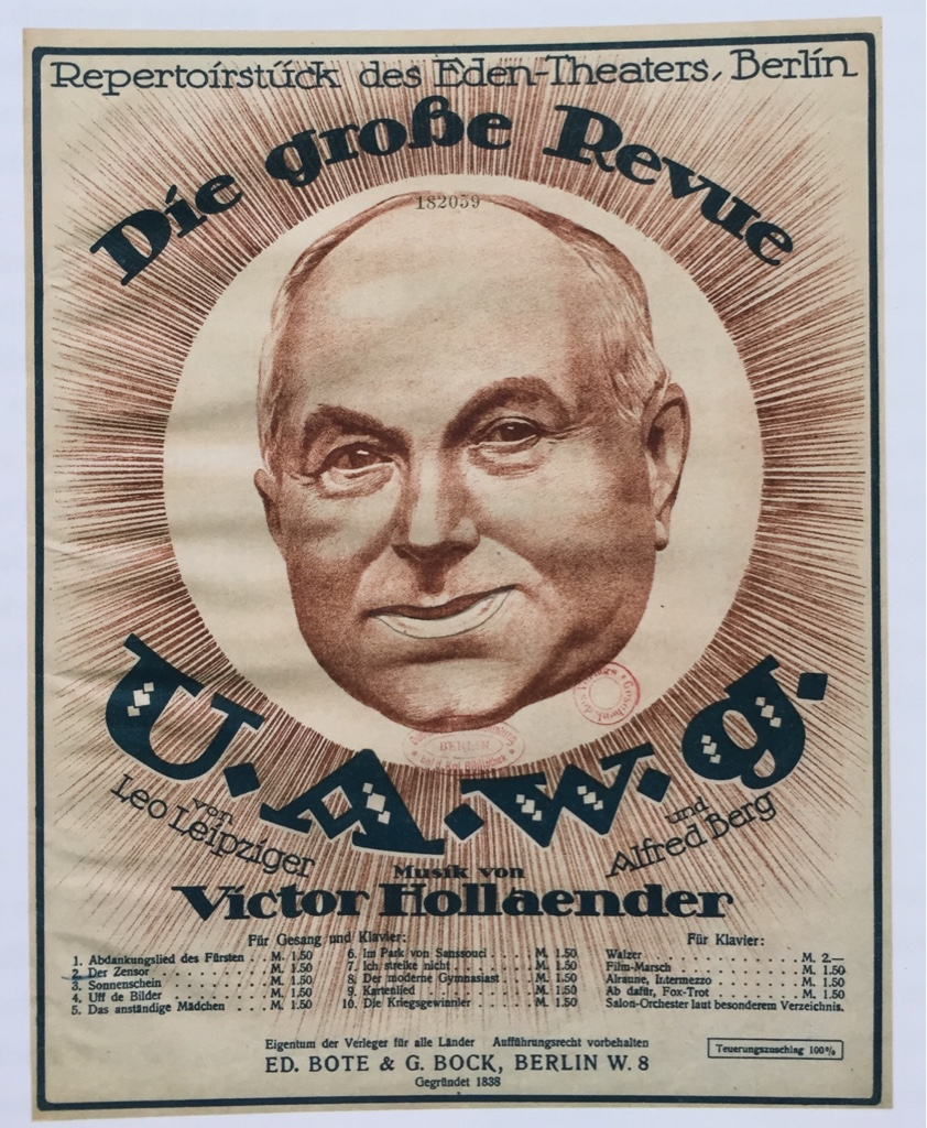 "The grand revue ""U.A.W.G"" with music by Victor Hollaender, 1919."