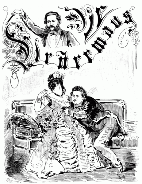 "Drawing from the newspaper ""Die Bombe"" by László von Frecskay, showing Marie Geistinger as Rosalinde, and Jani Szika as Eisenstein in ""Die Fledermaus,"" 1874."