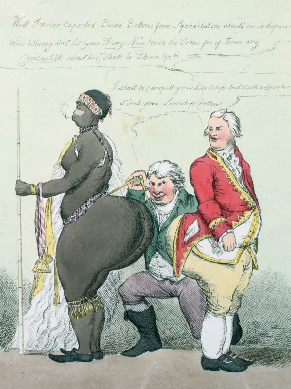 """A Pair of Broad Bottoms"": 1810 caricature of Sara Baartman by William Heath."