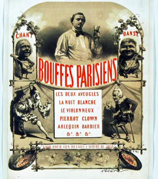 Advertising poster for the Théâtre des Bouffes-Parisiens season, 1865, by the illustrator Nadar.