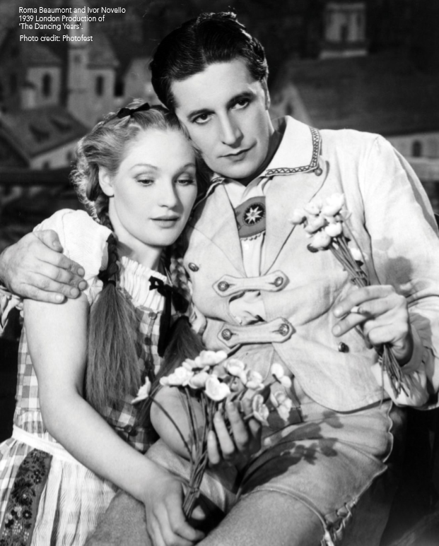"Ivor Novello in lederhosen together with Roma Beaumont in the opening scene of ""The Dancing Years."" Photo from the JAY Records booklet, 2018."