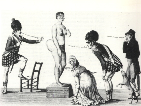 "19th century French print ""La Belle Hottentot"" of Sara Baartman."
