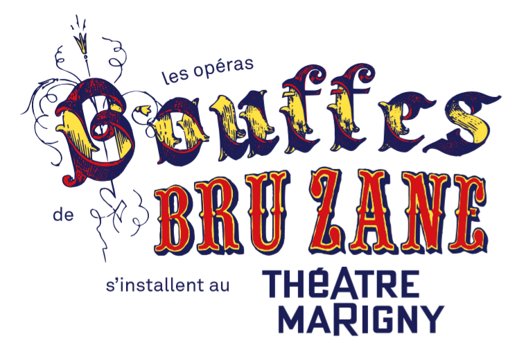 "The logo for the ""Bouffes Bru Zane"" at Théâtre Marigny."