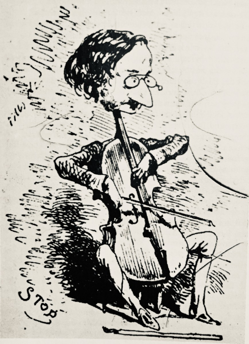 The young Jacques Offenbach playing the cello. A caricature from the 1840s.
