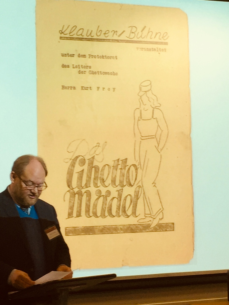 "James A. Grymes from the University of North Carolina presenting ""Das Ghetto Mädel"" which was performed in  Theresienstadt. (Photo: Private)"