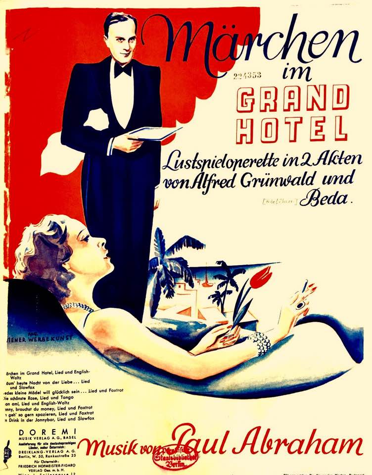 "Original 1934 sheet music cover for ""Märchen im Grand-Hotel."""
