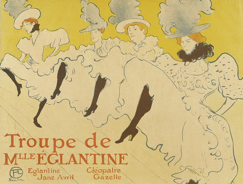 Poster depicting can-can dancers by Henri de Toulouse-Lautrec, 1895.