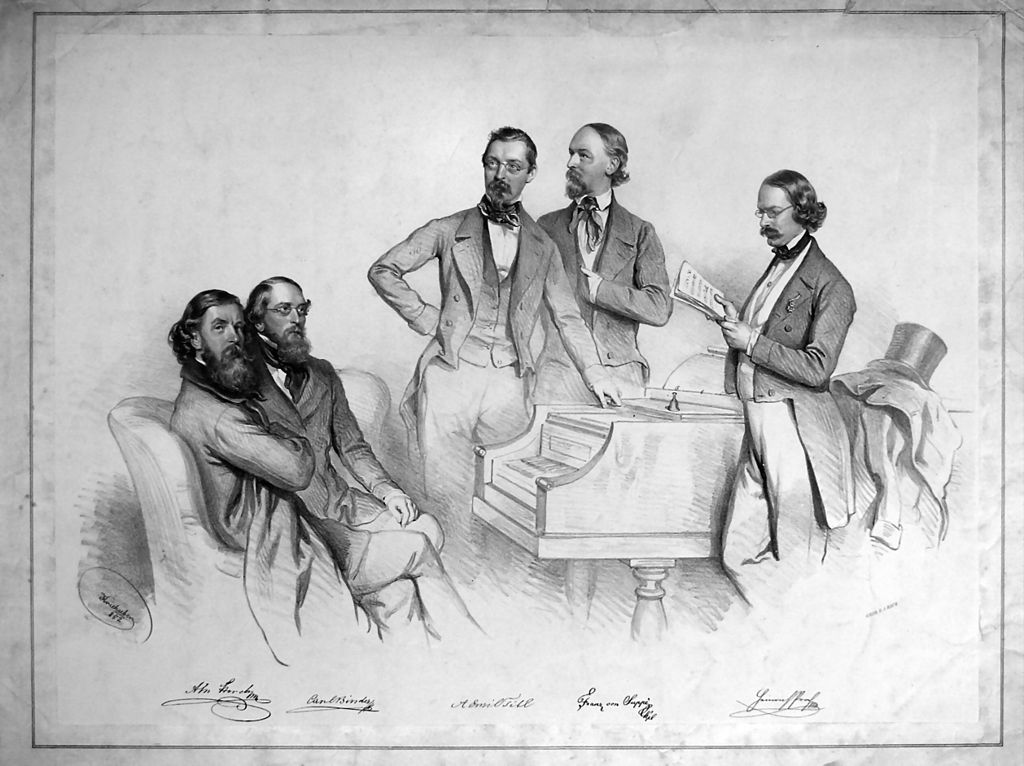 Franz von Suppè (2nd from right) in the circle of Viennese friends: Karl Binder, Anton M. Storch, Heinrich Proch and Emil Titl; lithography by Josef Kriehuber, 1852.