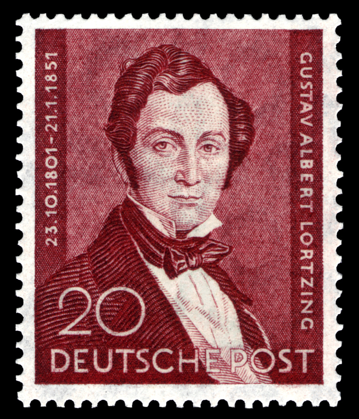 A German postal stamp from 1951 with Albert Lortzing's portrait.