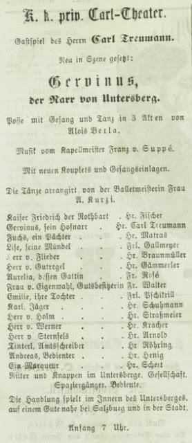 """Playbill for Franz von Suppé's """"Gervinus: Der Narr von Untersberg."""""""