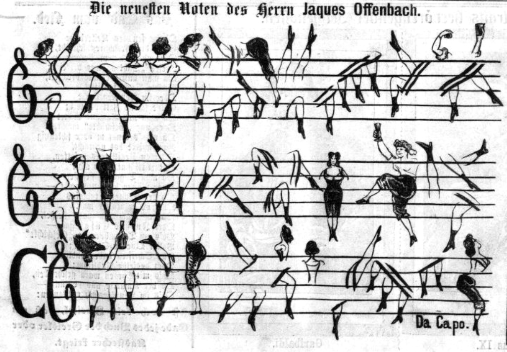 """Die neuesten Noten des Herrn Jacques Offenbach,"" i.e. the latest compositions from Mr. Jacques Offenbach. From: Kikeriki, 1865."