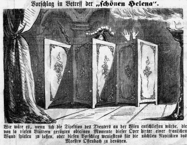 "A caricature on ""Die schöne Helena"" in Vienna, in ""Kikeriki,"" 1865."