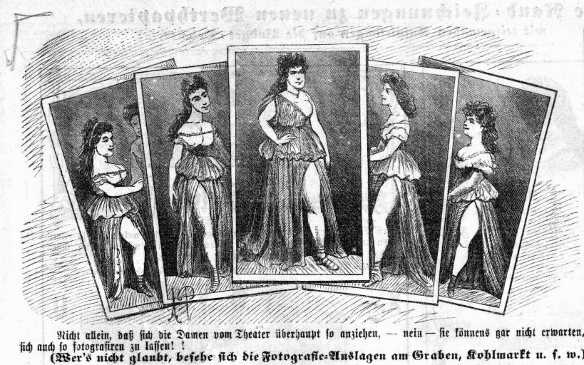 "An advertisement, of sorts, for ""Schöne Helena"" postcards in Vienna, from ""Kikeriki,"" 1865."