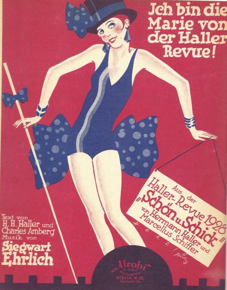 """""""Ich bin die Marie von der Haller Revue"""" from 1928. From """"Oh, Donna Clara… Musiktitel aus der Zeit des Art Déco,"""" edited by Walter Labhart, 2017 (edition clandestin)"""