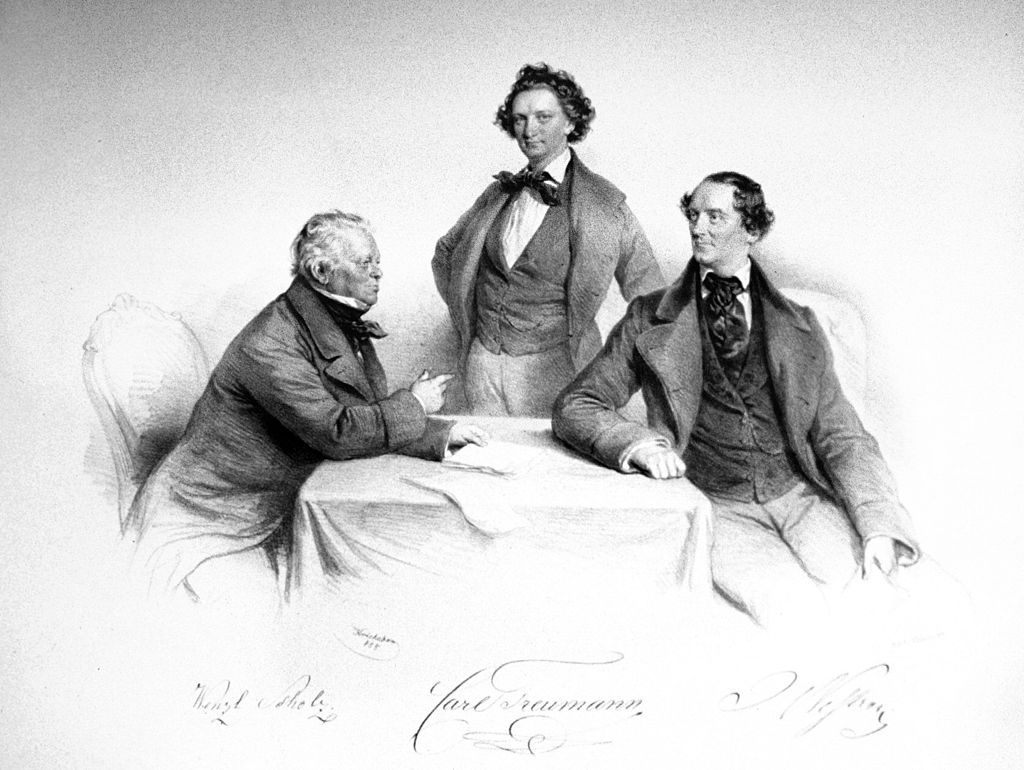 The men who brought Offenbach and operetta to Vienna: Karl Treumann with Wenzel Scholz and Johann Nestroy, lithography by Josef Kriehuber, 1855.