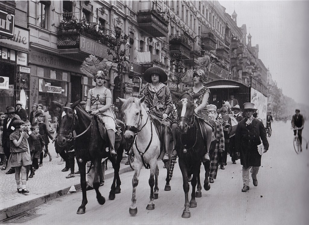 "Amazons on horseback in the streets of Berlin, as PR for a new movie in 1927. From ""Berlin as a Cosmopolitan City: Photographs by Willy Römer 1919-1933,"" edited by Enno Kaufhold, 2013 (Braus)"
