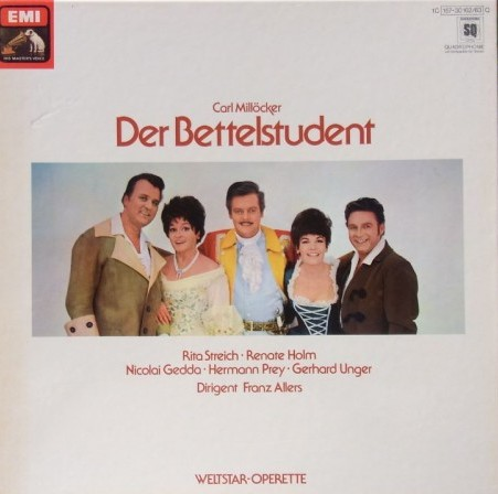 "Millöcker's ""Bettelstudent"" in the EMI series, labeled ""Weltstar Operette"" with singers from the Spieloper ensemble."