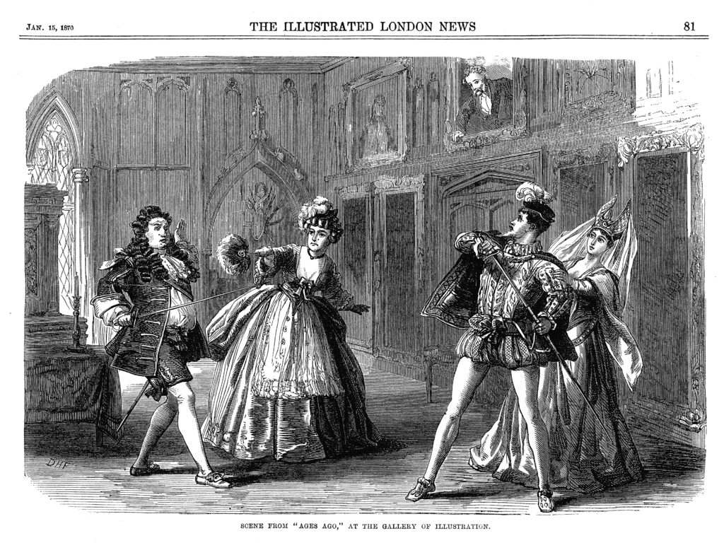 "A scene from ""Ages Ago"" as seen in ""The Illustrated London News,"" 15 January 1870."