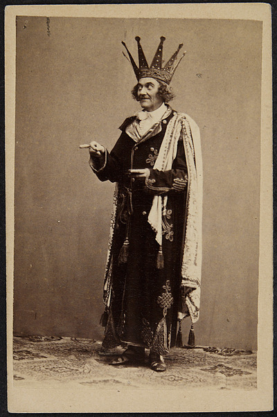 "Johann Nestroy as Jupiter in the 1860 ""Orpheus in der Unterwelt"" production at Carl-Theater in Vienna. (Photo: Archiv Theatermuseum Wien)"