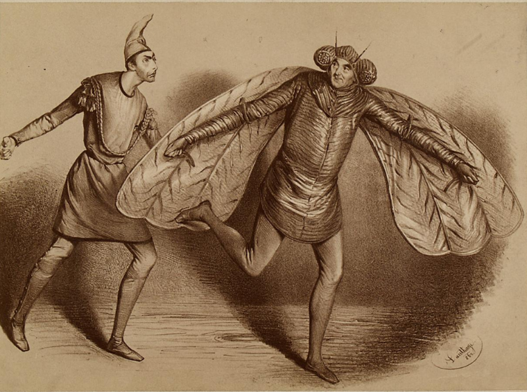"Johann Nestroy as ""Jupiter"" (turned into a fly) and Wilhelm Knaack als ""Hanns Styx"", in the 1860 production of ""Orpheus in der Unterwelt"" at Carl-Theater in Vienna. (Photo: lithography by A. Dauthage)"