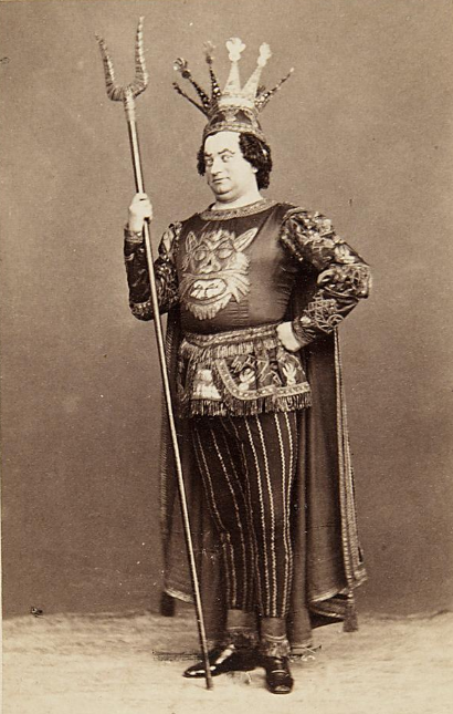 "Carl Treumann as Pluto in the 1860 production of ""Orpheus in der Unterwelt"" at Carl-Theater, Vienna. (Photo: Archive Theatermuseum Wien)"
