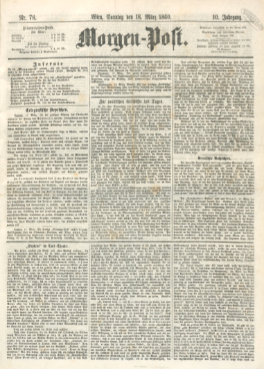 "The March 1860 issue of ""Morgen-Post"" with the ""Orpheus"" review on the front page."