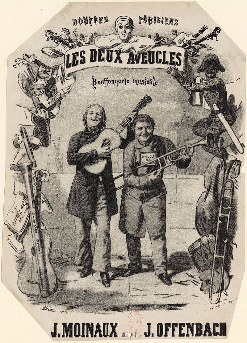 """Drawing for the cover of the piano-vocal score of Jacques Offenbach's """"Les deux aveugles."""""""