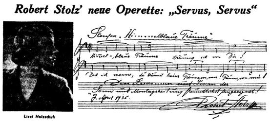 """A musical quote from """"Servus, Servus"""" by Robert Stolz. (Photo: Bühne Burgäschi)"""