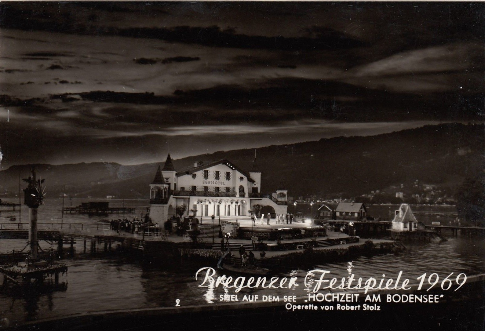 "A postcard from the Bregenz festival 1969, showing the set for ""Hochzeit am Bodensee."""