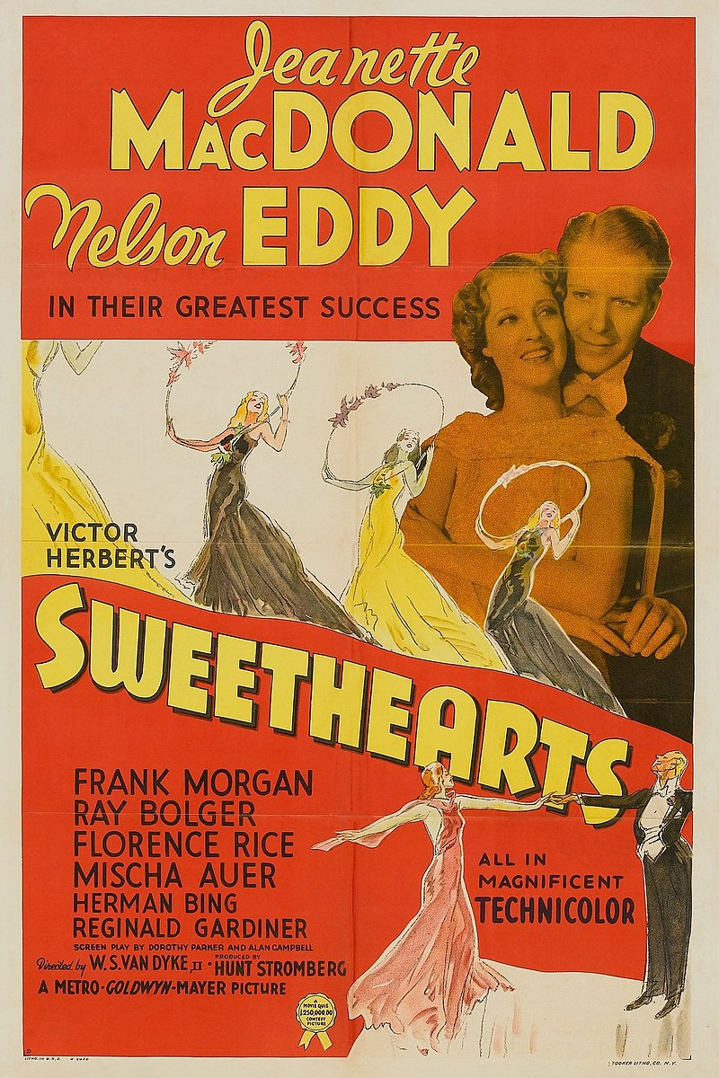 "Poster for the 1938 MGM movie version of ""Sweethearts."""