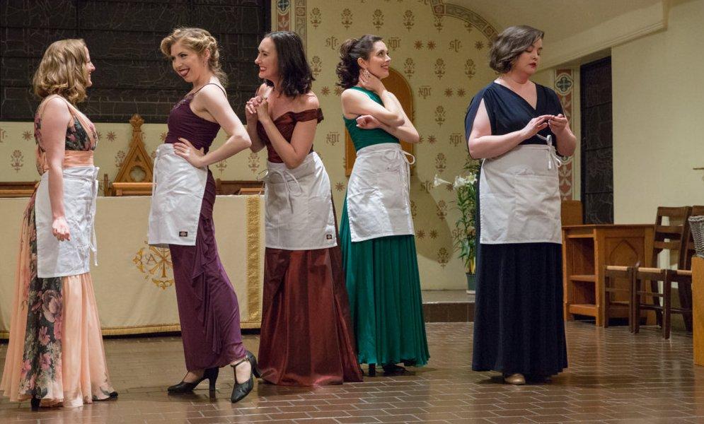 "Joanie Brittingham (Liane), Caitlin Ruddy, Emily Geller, Sarah Caldwell Smith, and JoAnna Geffert in ""Sweetharts"" (left to right). (Photo: Jill LaVine)"