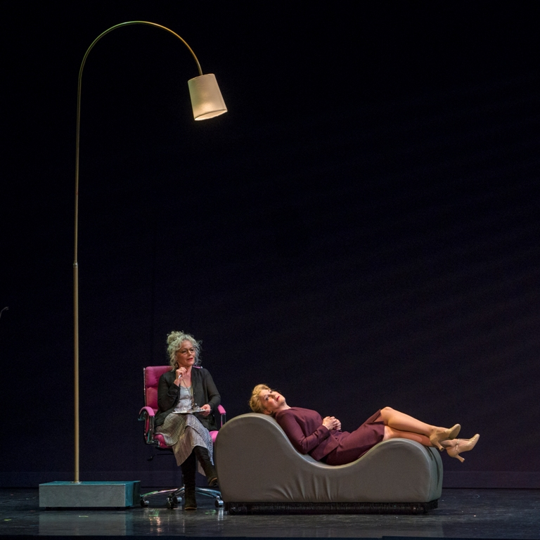 "Amy Irving (l.) and Victoria Clark in ""Lady in the Dark"" at City Center, New York, 2019. (Photo: Richard Termine)"