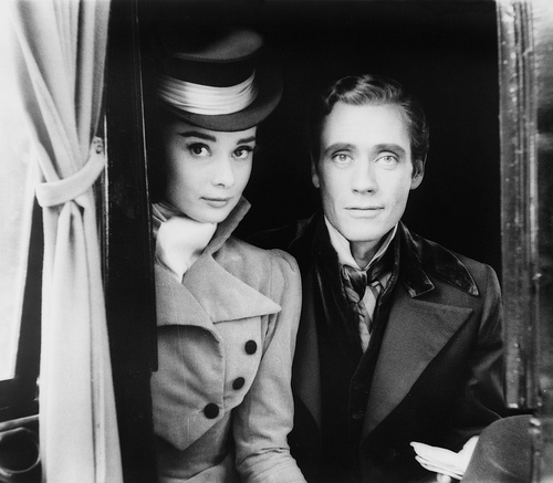 "Audrey Hepburn and Mel Ferrer, posing in costume, while filming ""War and Peace"" in 1955. (Photo: Milton H. Greene for LOOK Magazine / Library of Congress, LOOK Magazine Collection)"