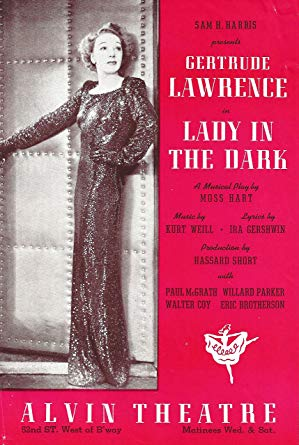 "Flyer promoting the original Broadway production of ""Lady in the Dark,"" starring Gertrude Lawrence."