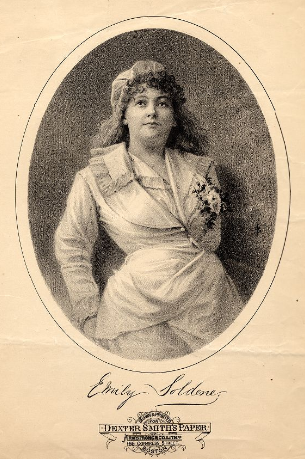 "Emily Soldene as Drogan in ""Genevieve de Brabant."""