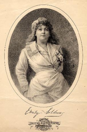 "Emily Soldene as Drogan in ""Genevieve de Brabant."""