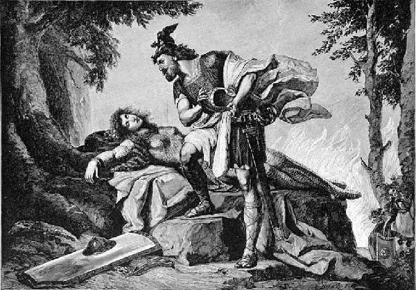 Siegfried awakens Brünnhilde, a drawing by Otto Donner von Richter from 1892.