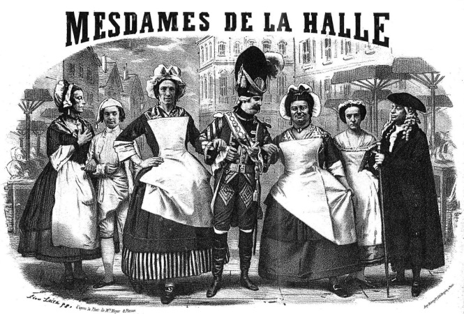 "Désiré cross-dressed as Madame Madou in Offenbachs ""Mesdames de la Halle."""