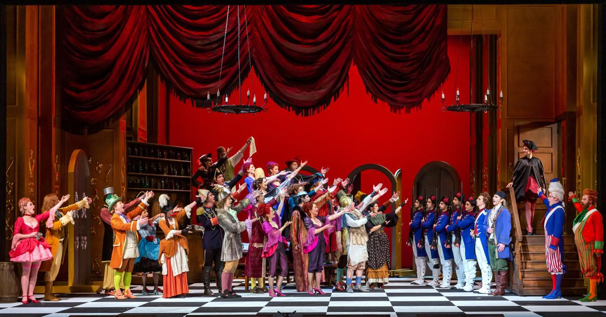 "Chorus and Ballet of Musikalische Komödie Leipzig in act 1 of ""Madame Pompadour."" (Photo: Tom Schulze)"