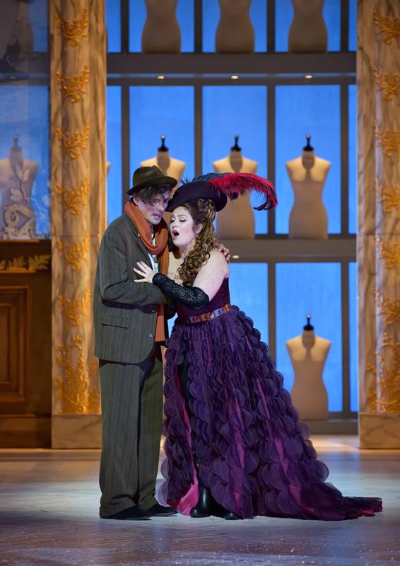 Madame Favart (Marion Lebègue) and Charles-Simon Favart (Christian Helmer) in the new production at Opéra-Comique, Paris 2019. (Photo: Stéphane Brion)