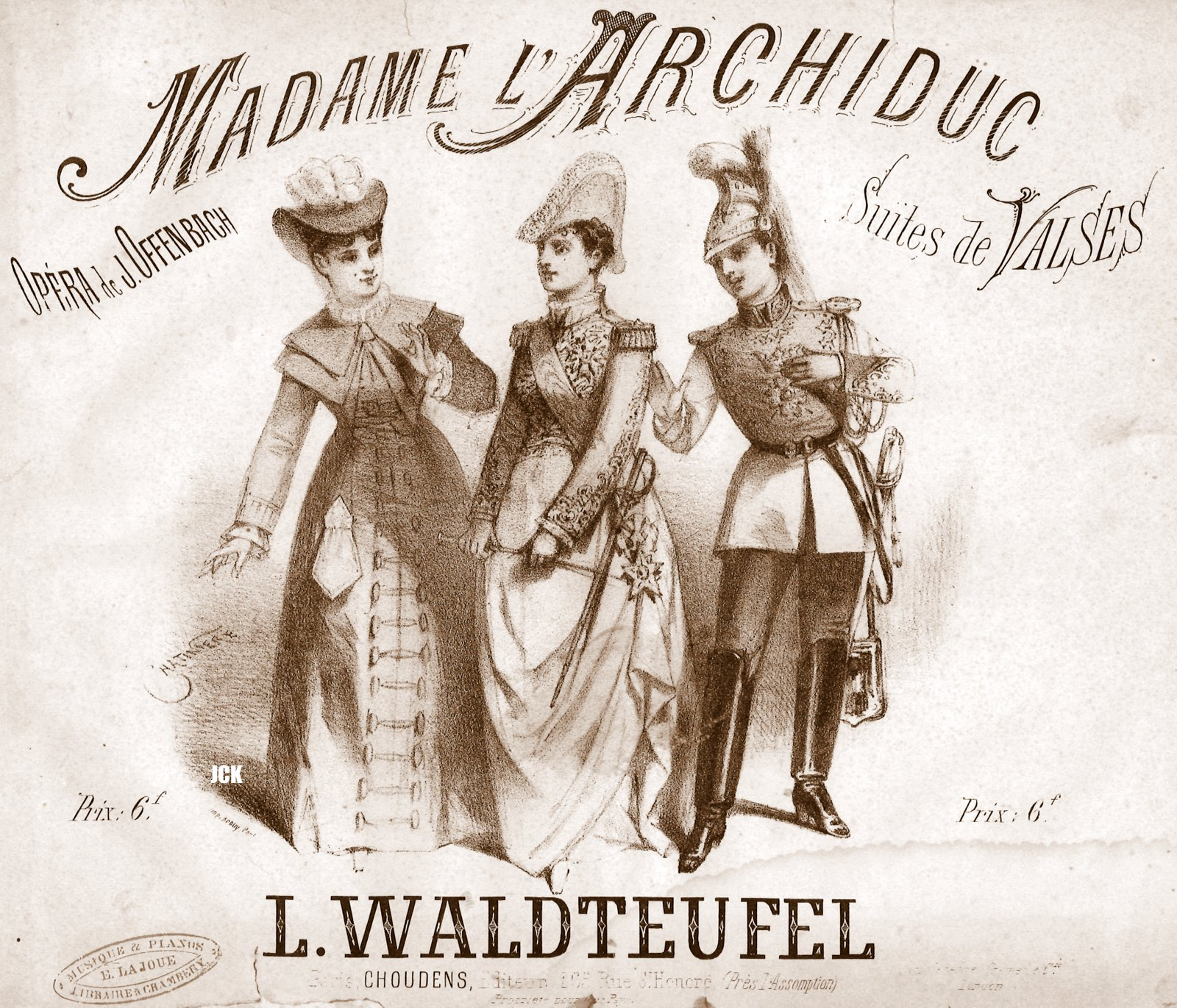 "Sheet music cover for Offenbachs "" Madame l'Archiduc."""