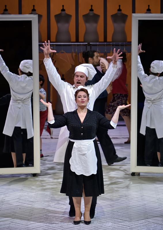 Madame Favart (Marion Lebègue) and Charles-Simon Favart (Christian Helmer), at Opéra Comique 2019. (Photo: Stéphane Brion)